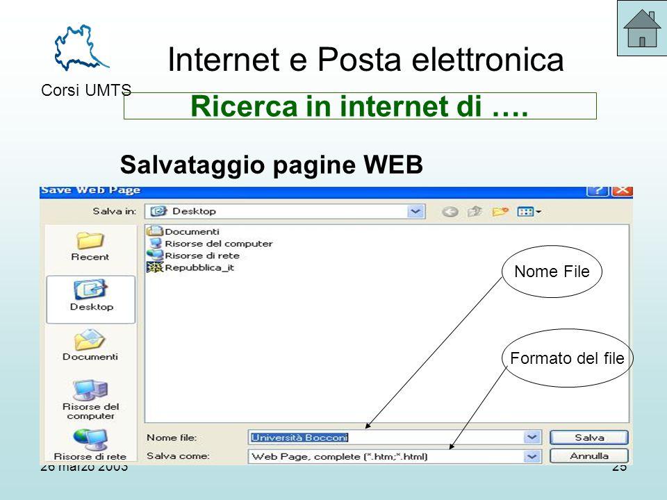 Internet e Posta elettronica Corsi UMTS 26 marzo 200325 Nome File Formato del file Ricerca in internet di ….