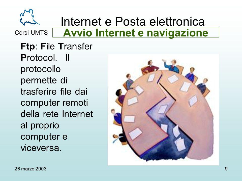 Internet e Posta elettronica Corsi UMTS 26 marzo 20039 Ftp: File Transfer Protocol.
