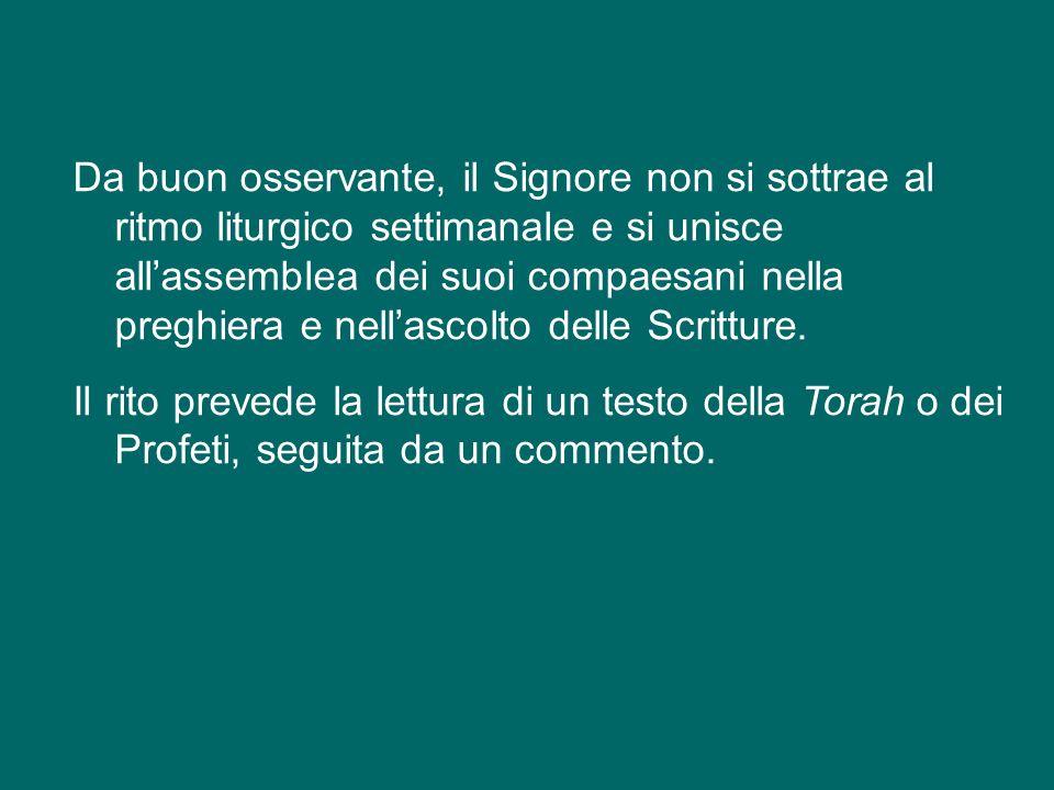 Il secondo brano (4,14-21), invece, ci presenta Gesù che «con la potenza dello Spirito» si reca di sabato nella sinagoga di Nazaret.