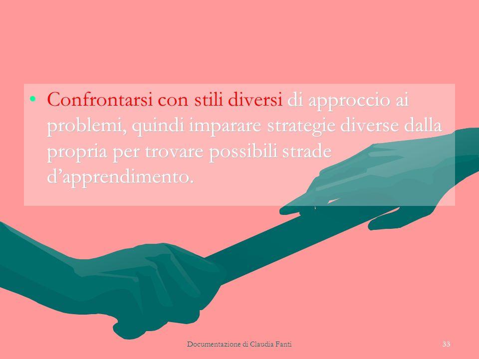 Documentazione di Claudia Fanti33 Confrontarsi con stili diversi di approccio ai problemi, quindi imparare strategie diverse dalla propria per trovare