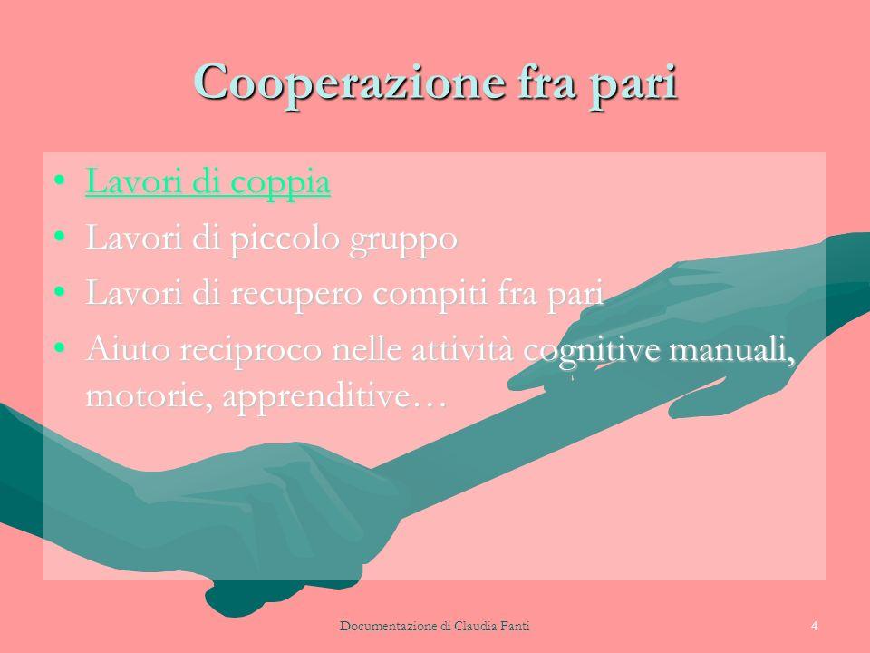 Documentazione di Claudia Fanti4 Cooperazione fra pari Lavori di coppiaLavori di coppiaLavori di coppiaLavori di coppia Lavori di piccolo gruppoLavori