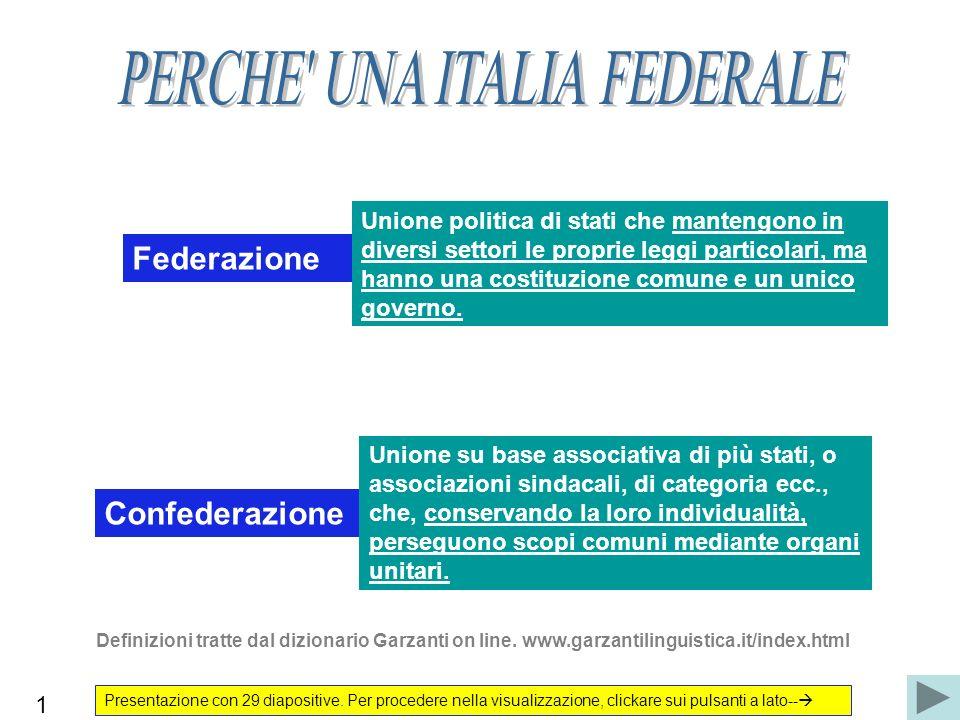 Federazione Unione politica di stati che mantengono in diversi settori le proprie leggi particolari, ma hanno una costituzione comune e un unico gover