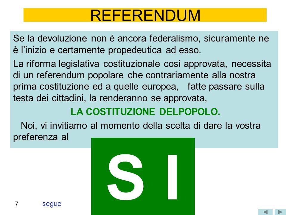 segue REFERENDUM Se la devoluzione non è ancora federalismo, sicuramente ne è linizio e certamente propedeutica ad esso. La riforma legislativa costit