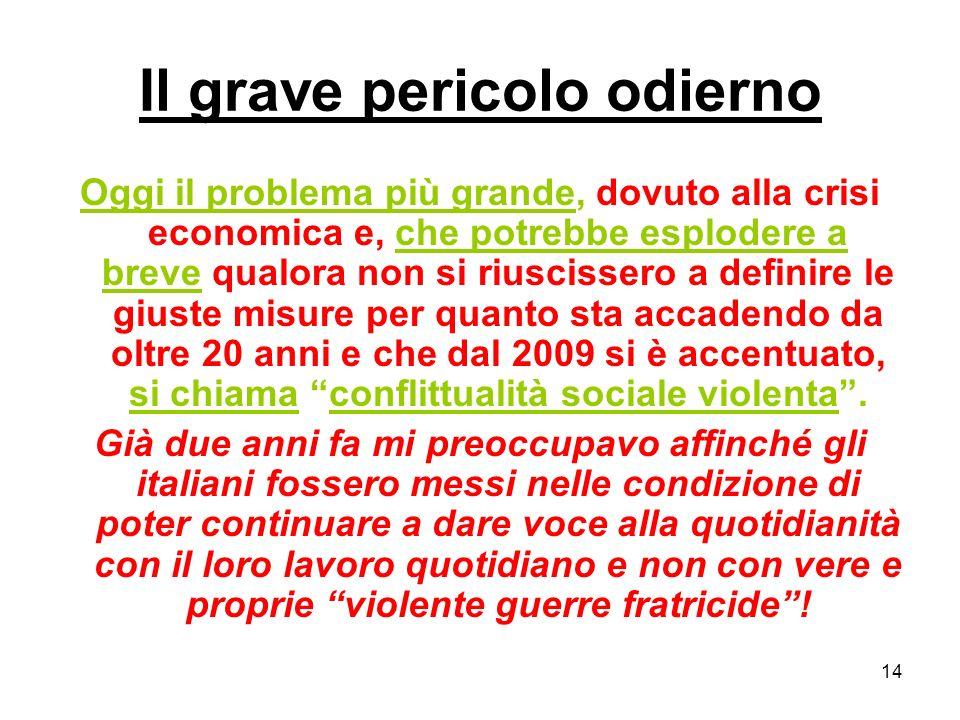 14 Il grave pericolo odierno Oggi il problema più grande, dovuto alla crisi economica e, che potrebbe esplodere a breve qualora non si riuscissero a d