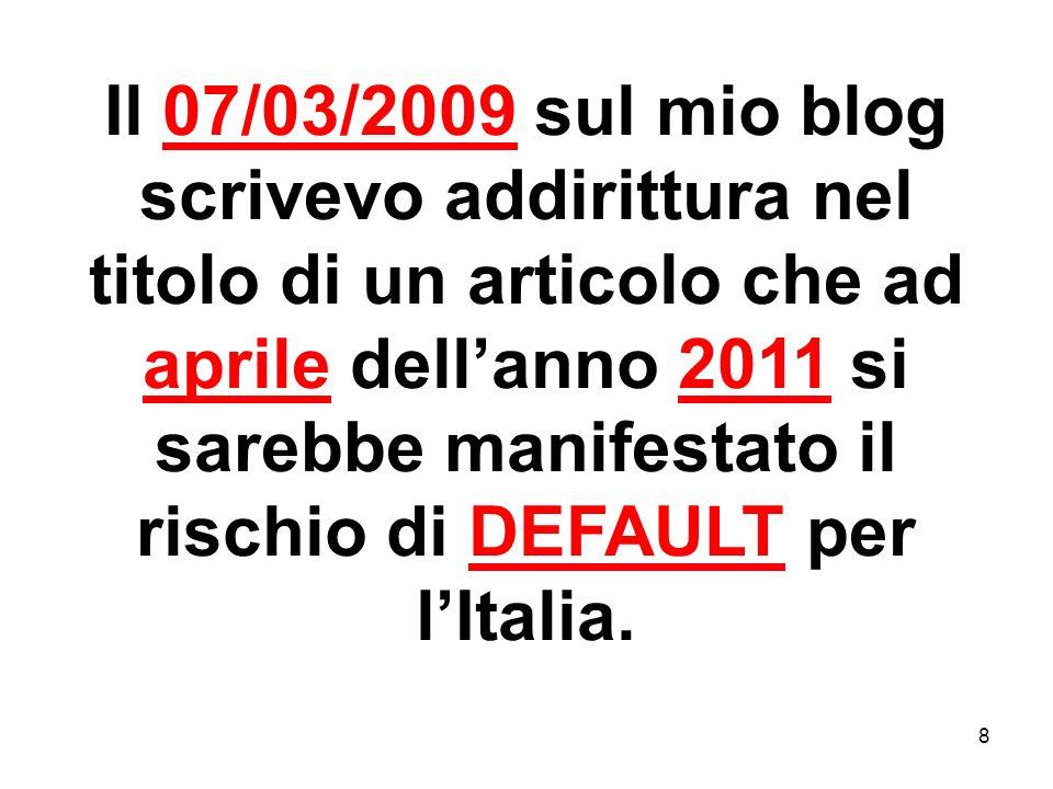 8 Il 07/03/2009 sul mio blog scrivevo addirittura nel titolo di un articolo che ad aprile dellanno 2011 si sarebbe manifestato il rischio di DEFAULT p