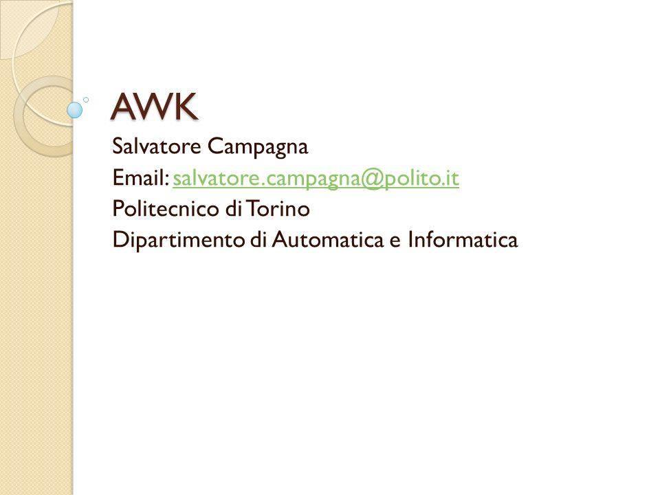 AWK Salvatore Campagna Email: salvatore.campagna@polito.itsalvatore.campagna@polito.it Politecnico di Torino Dipartimento di Automatica e Informatica