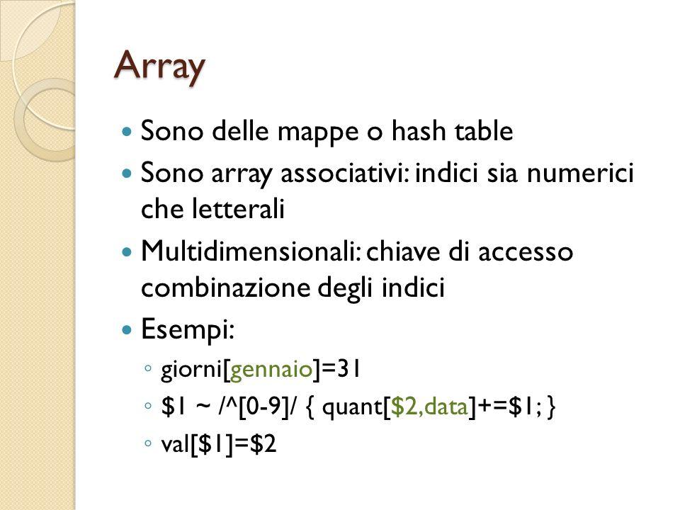 Array Sono delle mappe o hash table Sono array associativi: indici sia numerici che letterali Multidimensionali: chiave di accesso combinazione degli