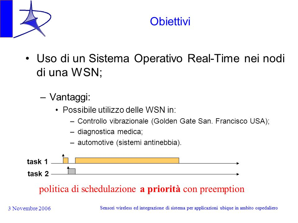 3 Novembre 2006 Sensori wireless ed integrazione di sistema per applicazioni ubique in ambito ospedaliero Obiettivi Uso di un Sistema Operativo Real-Time nei nodi di una WSN; –Vantaggi: Possibile utilizzo delle WSN in: –Controllo vibrazionale (Golden Gate San.