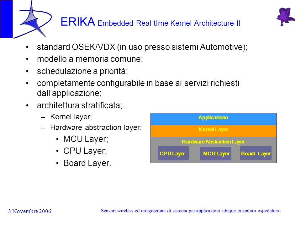 3 Novembre 2006 Sensori wireless ed integrazione di sistema per applicazioni ubique in ambito ospedaliero ERIKA Embedded Real tIme Kernel Architecture