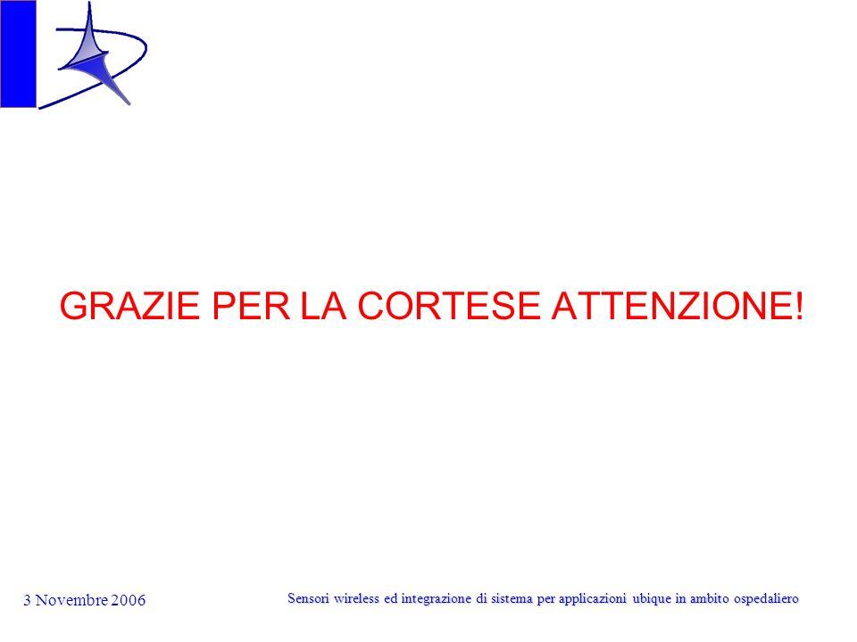 3 Novembre 2006 Sensori wireless ed integrazione di sistema per applicazioni ubique in ambito ospedaliero GRAZIE PER LA CORTESE ATTENZIONE!
