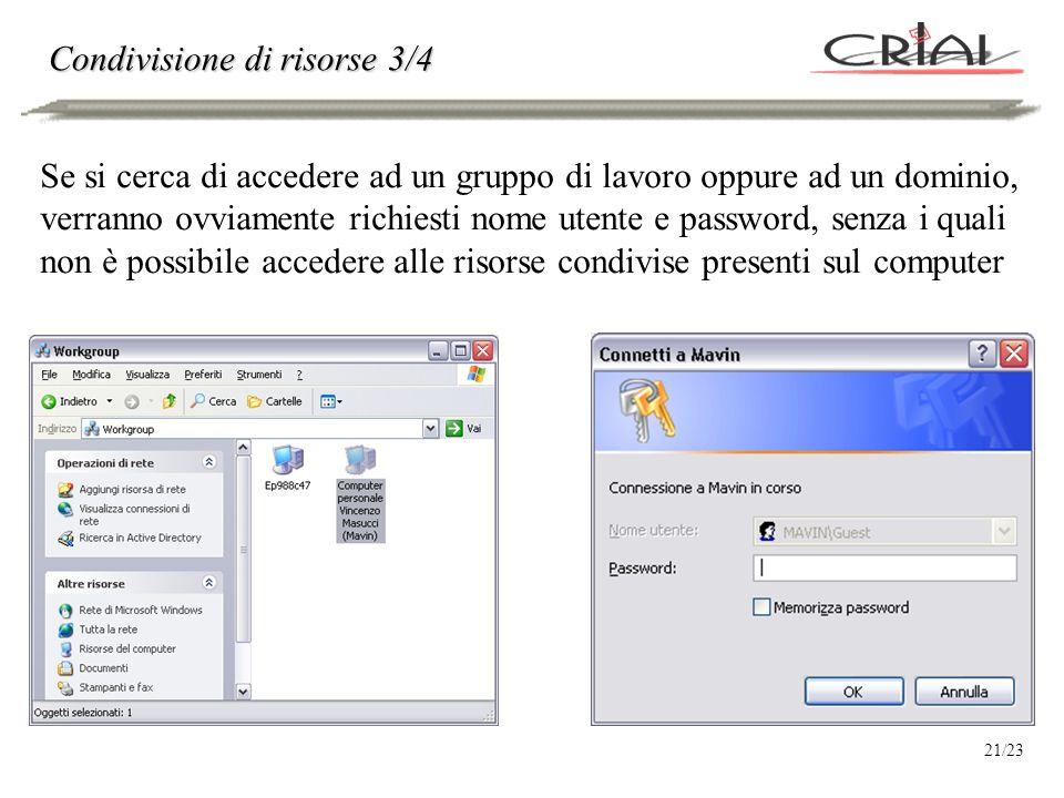 A questo punto, è possibile accedere alle risorse localizzate sul computer remoto selezionato (a patto di avere nome utente, password e diritti per accedere alla risorsa) Condivisione di risorse 4/4 22/23