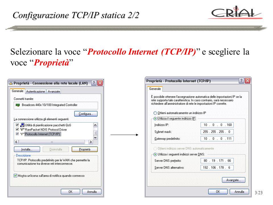 Configurazione TCP/IP dinamica Per utilizzare il servizio di configurazione automatica DHCP, selezionare Ottieni automaticamente un indirizzo IP P.S.: questo approccio funziona A PATTO CHE NELLA RETE ESISTA ALMENO UN SERVER DHCP, ovvero una macchina che ospiti (e che abbia avviato) tale servizio.