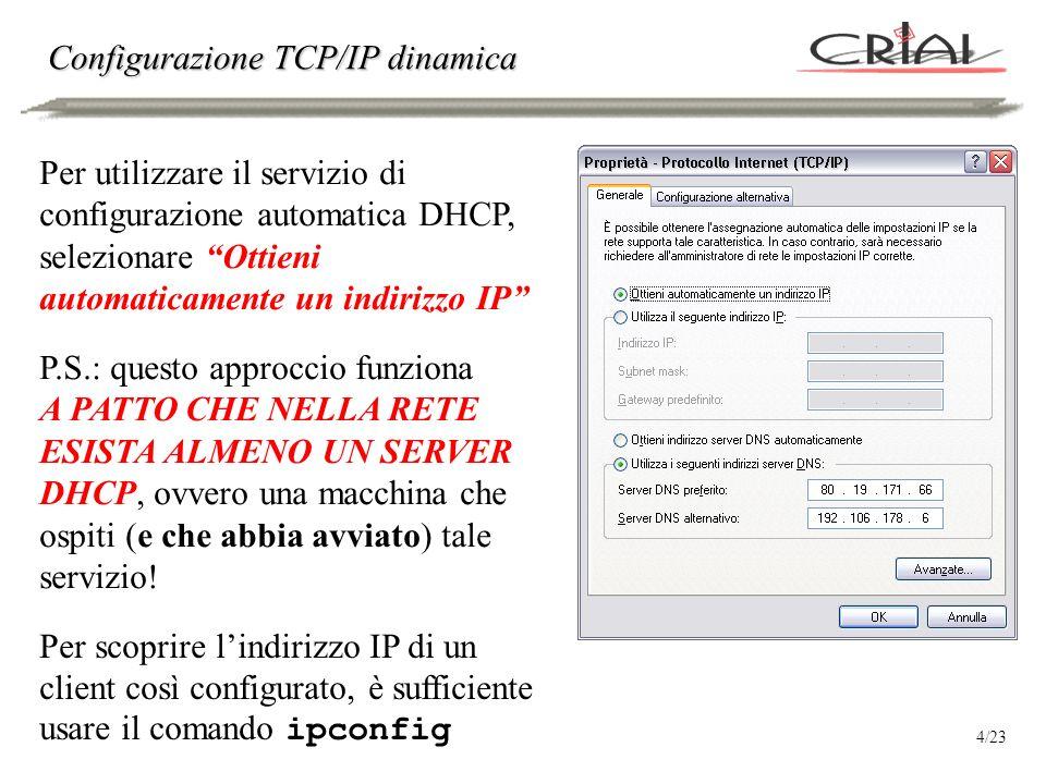 Configurazione statica VS dinamica La configurazione statica: Permette di allocare in maniera ottimale gli indirizzi IP a disposizione Consente di supplire, in prima battuta, allassenza di un DNS locale (gli indirizzi IP sono noti a priori, e pertanto sono facilmente raggiungibili, a patto di ricordarli) La configurazione dinamica: È più semplice rispetto a quella statica (non richiede una fase di studio della rete per poi assegnare gli indirizzi ad ogni computer) È più versatile per i terminali mobili che cambiano spesso rete di appartenenza 5/23
