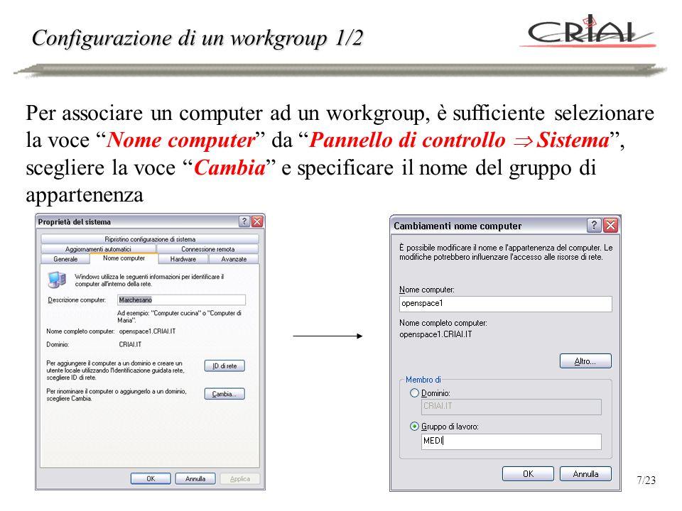Configurazione di un workgroup 2/2 Si noti che il workgroup NON DEVE ESSERE CREATO ESPLICITAMENTE!!.