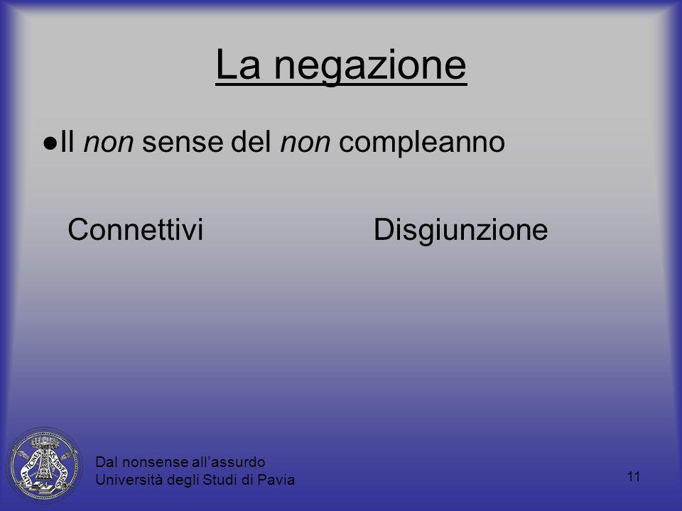 11 La negazione Il non sense del non compleanno ConnettiviDisgiunzione Dal nonsense allassurdo Università degli Studi di Pavia