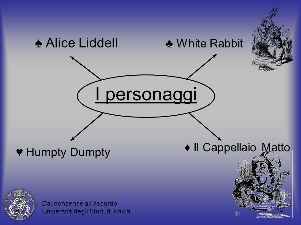 12 I personaggi Alice Liddell White Rabbit Il Cappellaio Matto Humpty Dumpty Dal nonsense allassurdo Università degli Studi di Pavia