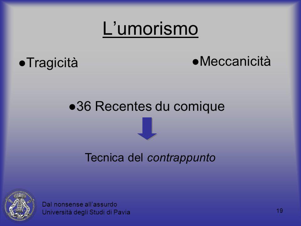 19 Lumorismo Tragicità Dal nonsense allassurdo Università degli Studi di Pavia Meccanicità 36 Recentes du comique Tecnica del contrappunto