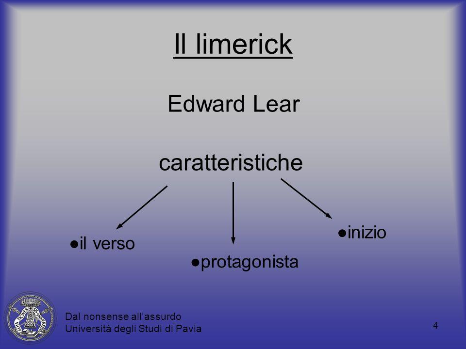 4 Il limerick caratteristiche il verso inizio protagonista Dal nonsense allassurdo Università degli Studi di Pavia Edward Lear