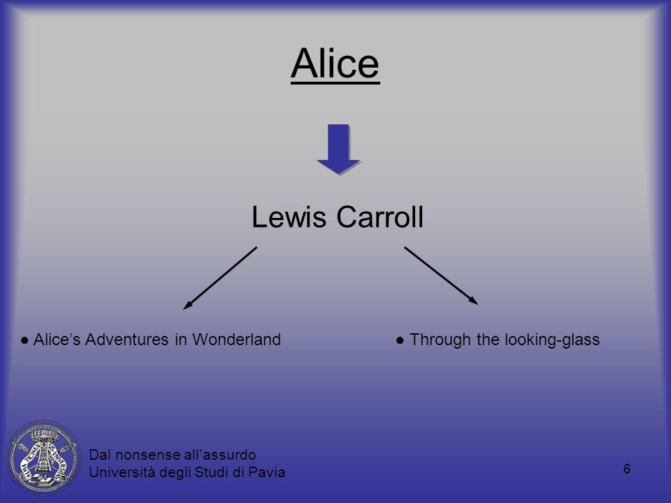 6 Alice Lewis Carroll Through the looking-glass Alices Adventures in Wonderland Dal nonsense allassurdo Università degli Studi di Pavia