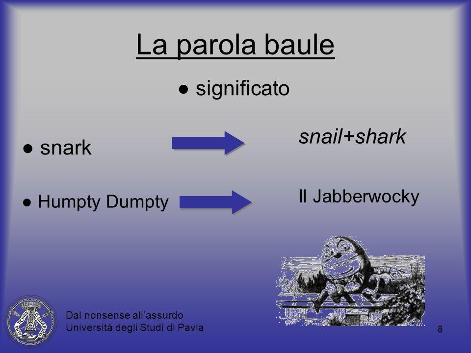 8 La parola baule significato Dal nonsense allassurdo Università degli Studi di Pavia snark snail+shark Humpty Dumpty Il Jabberwocky