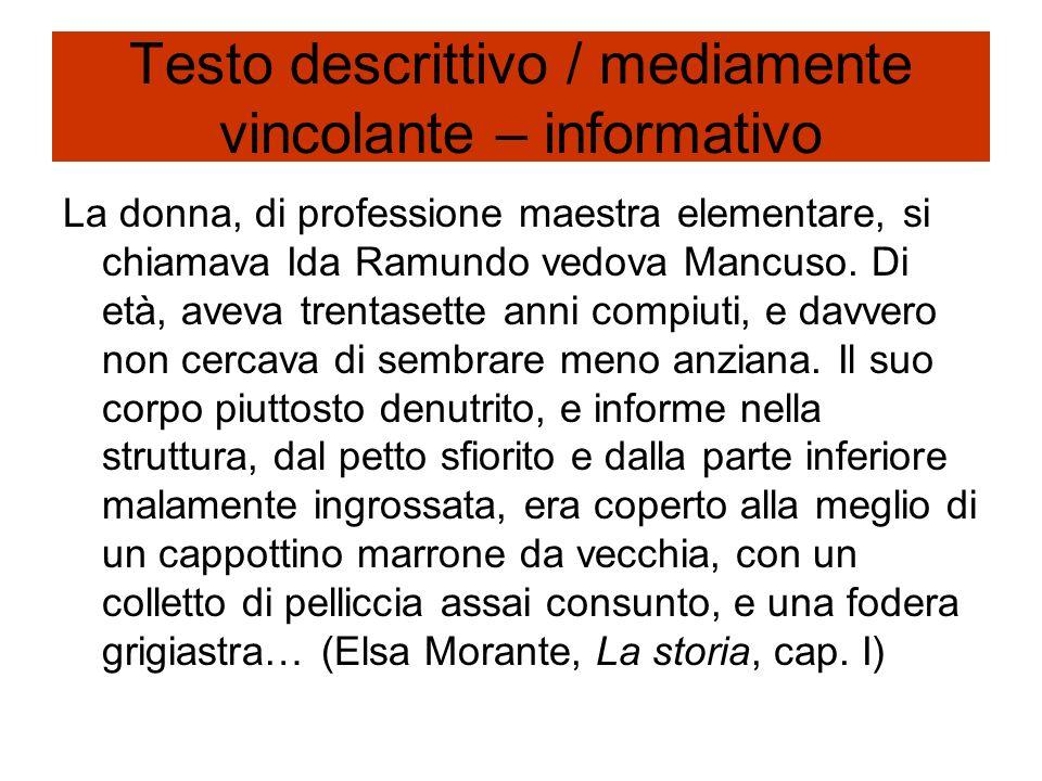 Testo descrittivo / mediamente vincolante – informativo La donna, di professione maestra elementare, si chiamava Ida Ramundo vedova Mancuso. Di età, a
