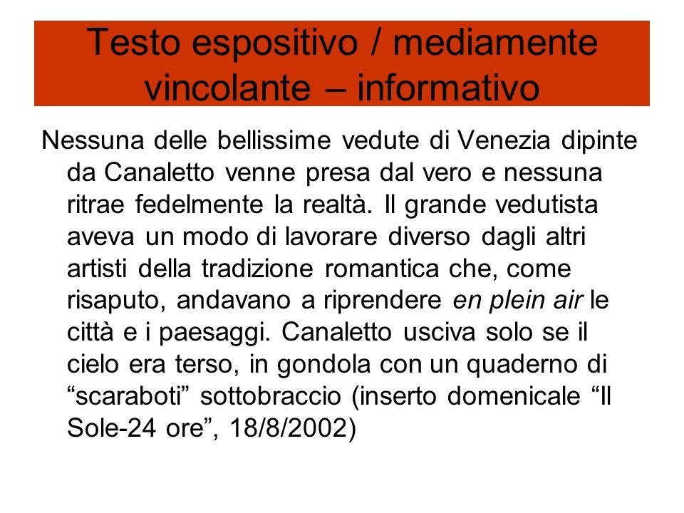 Testo espositivo / mediamente vincolante – informativo Nessuna delle bellissime vedute di Venezia dipinte da Canaletto venne presa dal vero e nessuna