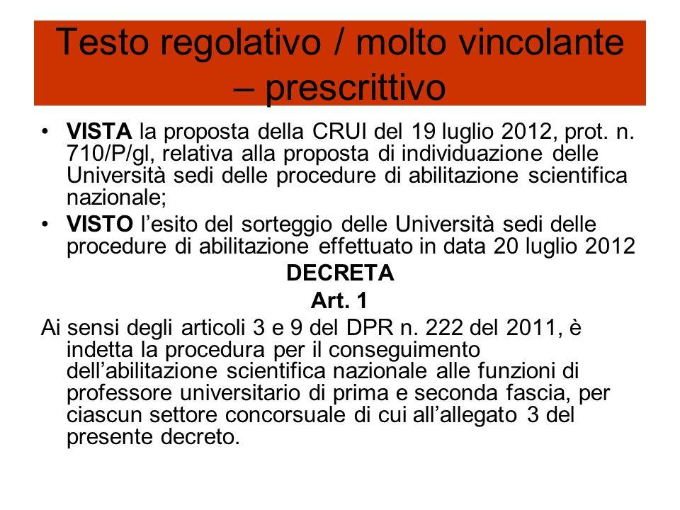 Testo regolativo / molto vincolante – prescrittivo VISTA la proposta della CRUI del 19 luglio 2012, prot. n. 710/P/gl, relativa alla proposta di indiv