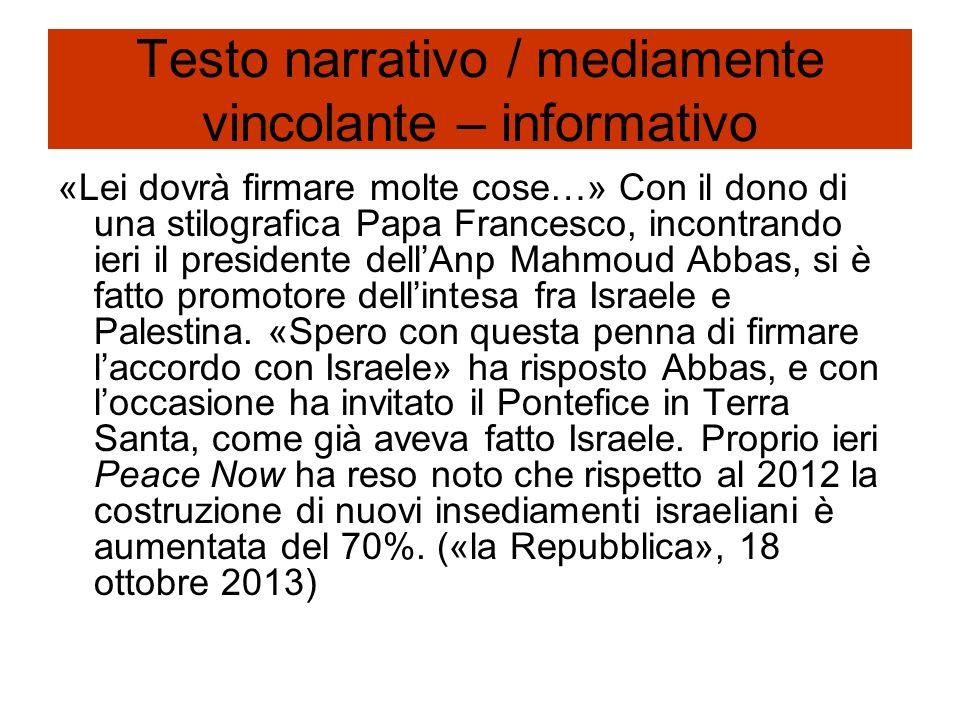 Testo narrativo / mediamente vincolante – informativo «Lei dovrà firmare molte cose…» Con il dono di una stilografica Papa Francesco, incontrando ieri