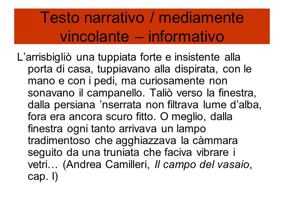 Testo descrittivo / mediamente vincolante – informativo La donna, di professione maestra elementare, si chiamava Ida Ramundo vedova Mancuso.
