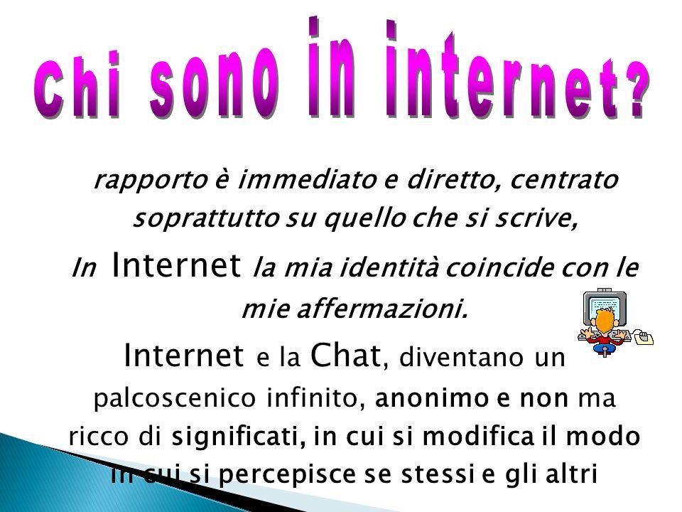 Allinterno di un ambiente virtuale il rapporto è immediato e diretto, centrato soprattutto su quello che si scrive, In Internet la mia identità coinci