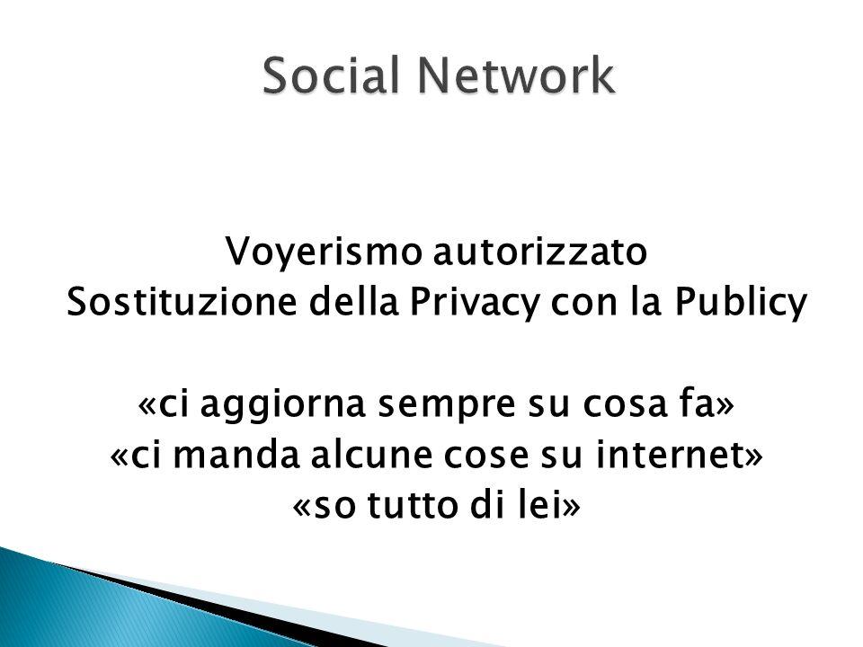 Voyerismo autorizzato Sostituzione della Privacy con la Publicy «ci aggiorna sempre su cosa fa» «ci manda alcune cose su internet» «so tutto di lei»