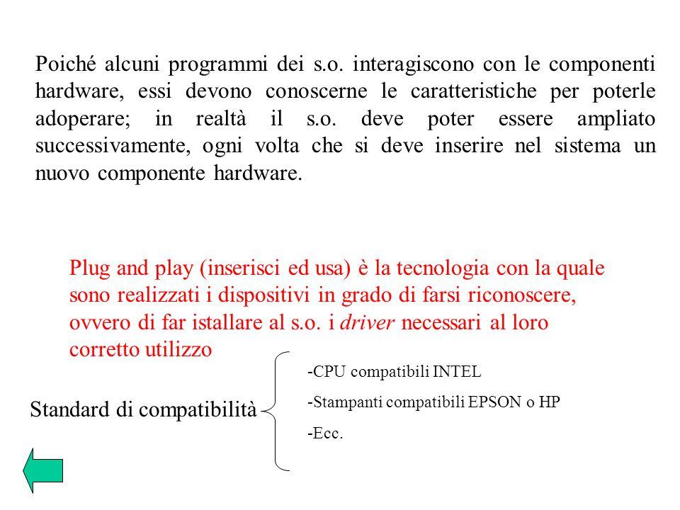 Poiché alcuni programmi dei s.o. interagiscono con le componenti hardware, essi devono conoscerne le caratteristiche per poterle adoperare; in realtà