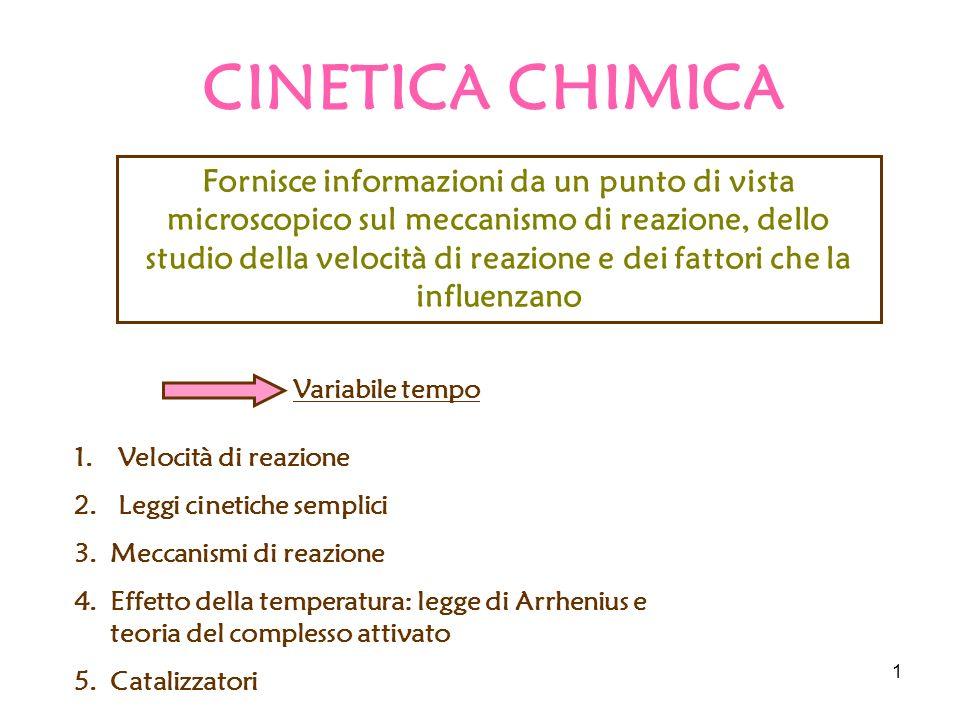 1 CINETICA CHIMICA Fornisce informazioni da un punto di vista microscopico sul meccanismo di reazione, dello studio della velocità di reazione e dei fattori che la influenzano Variabile tempo 1.