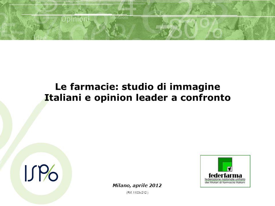 Milano, aprile 2012 Le farmacie: studio di immagine Italiani e opinion leader a confronto (Rif.