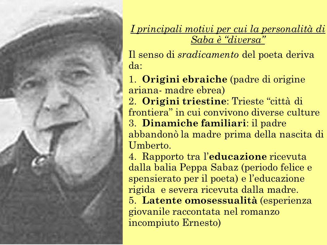 I principali motivi per cui la personalità di Saba è diversa Il senso di sradicamento del poeta deriva da: 1.