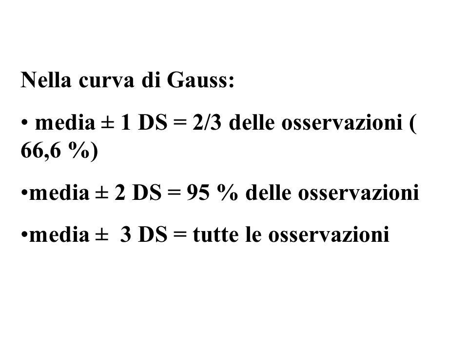 Nella curva di Gauss: media ± 1 DS = 2/3 delle osservazioni ( 66,6 %) media ± 2 DS = 95 % delle osservazioni media ± 3 DS = tutte le osservazioni