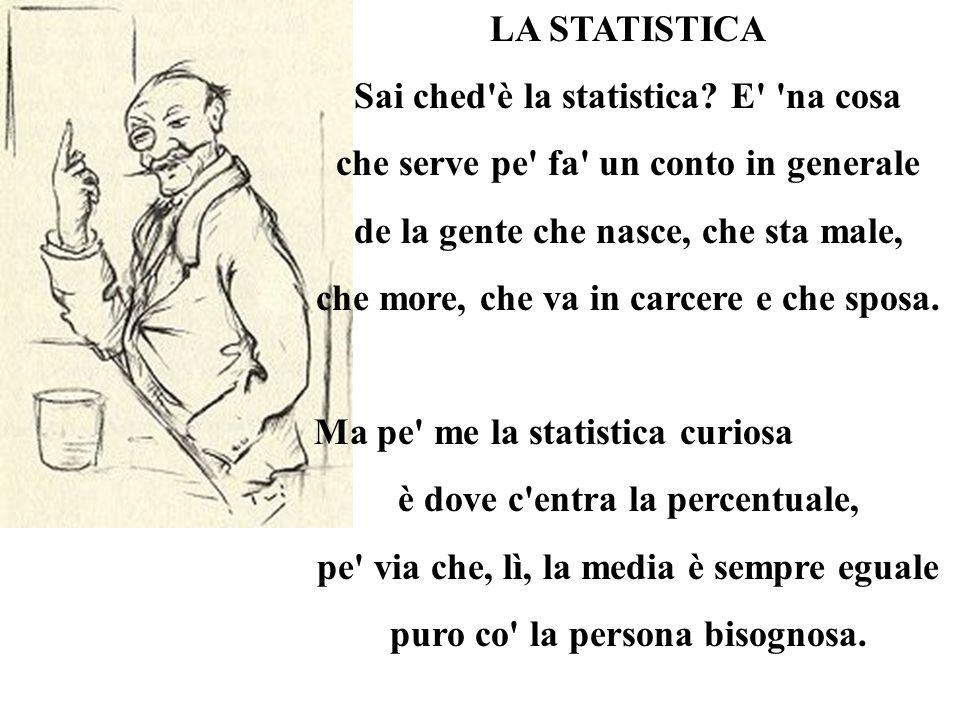 LA STATISTICA Sai ched'è la statistica? E' 'na cosa che serve pe' fa' un conto in generale de la gente che nasce, che sta male, che more, che va in ca