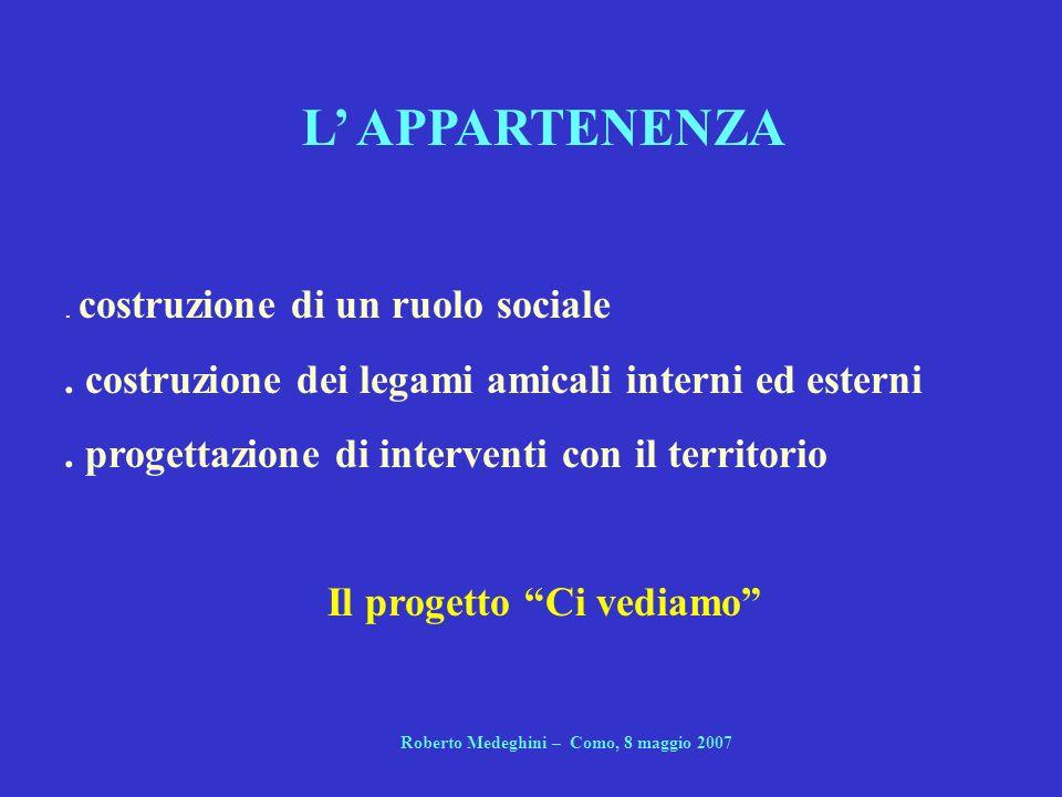 L APPARTENENZA. costruzione di un ruolo sociale. costruzione dei legami amicali interni ed esterni. progettazione di interventi con il territorio Il p