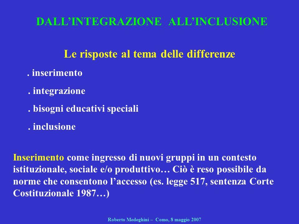 2.Modi di intendere lintegrazione a.Integrazione condizionale b.Integrazione differenziale c.Integrazione progressiva Roberto Medeghini – Como, 8 maggio 2007 Lintegrazione: perché problematizzarla.