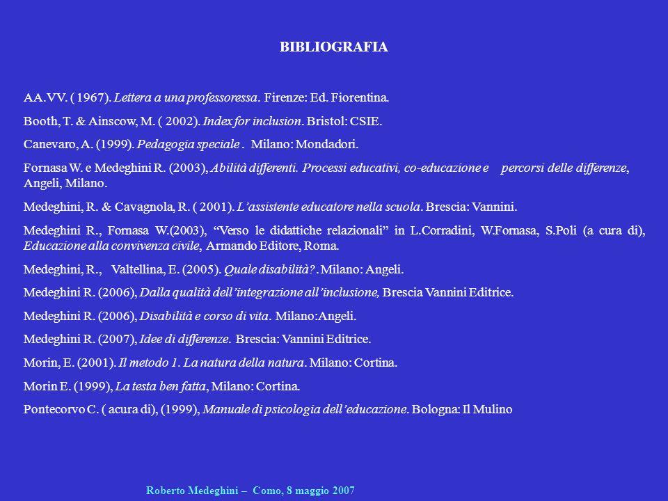 BIBLIOGRAFIA AA.VV. ( 1967). Lettera a una professoressa. Firenze: Ed. Fiorentina. Booth, T. & Ainscow, M. ( 2002). Index for inclusion. Bristol: CSIE