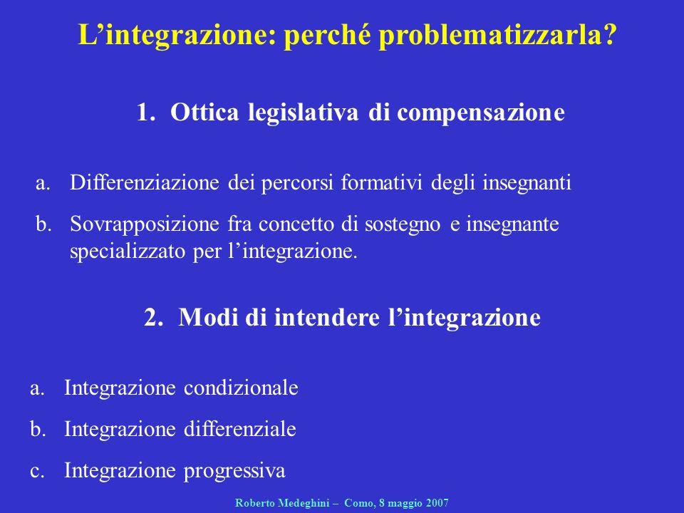 2.Modi di intendere lintegrazione a.Integrazione condizionale b.Integrazione differenziale c.Integrazione progressiva Roberto Medeghini – Como, 8 magg