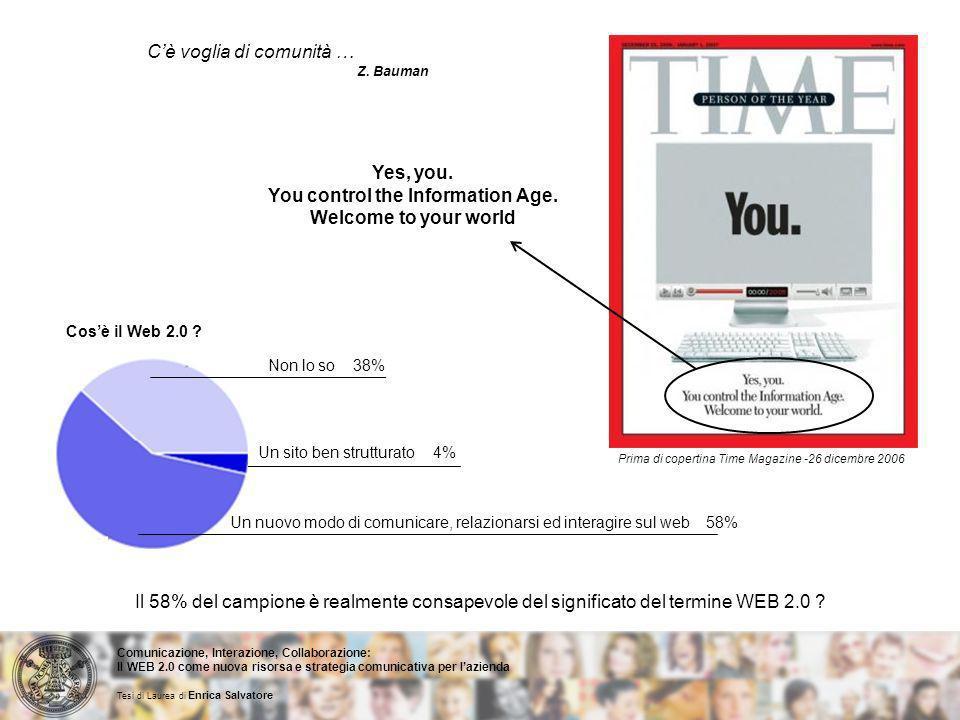 Cè voglia di comunità … Z. Bauman Yes, you. You control the Information Age.