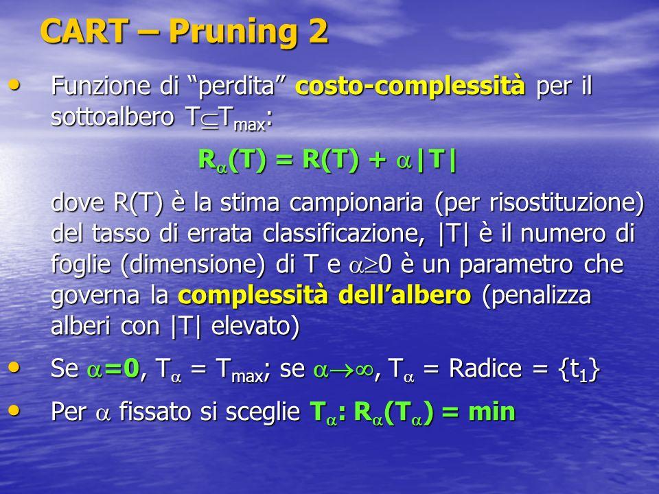 CART – Pruning 2 Funzione di perdita costo-complessità per il sottoalbero T T max : Funzione di perdita costo-complessità per il sottoalbero T T max :