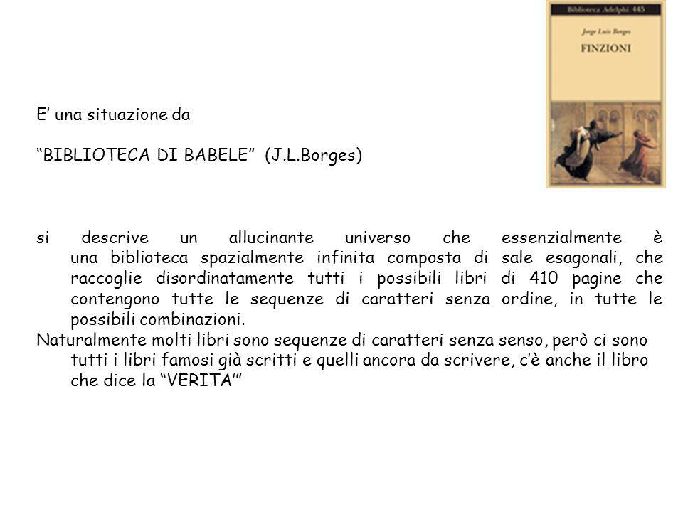 E una situazione da BIBLIOTECA DI BABELE (J.L.Borges) si descrive un allucinante universo che essenzialmente è una biblioteca spazialmente infinita composta di sale esagonali, che raccoglie disordinatamente tutti i possibili libri di 410 pagine che contengono tutte le sequenze di caratteri senza ordine, in tutte le possibili combinazioni.