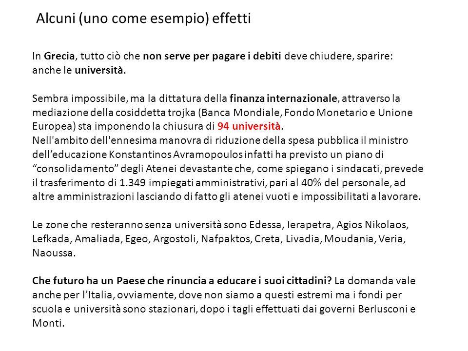 Alcuni (uno come esempio) effetti In Grecia, tutto ciò che non serve per pagare i debiti deve chiudere, sparire: anche le università.