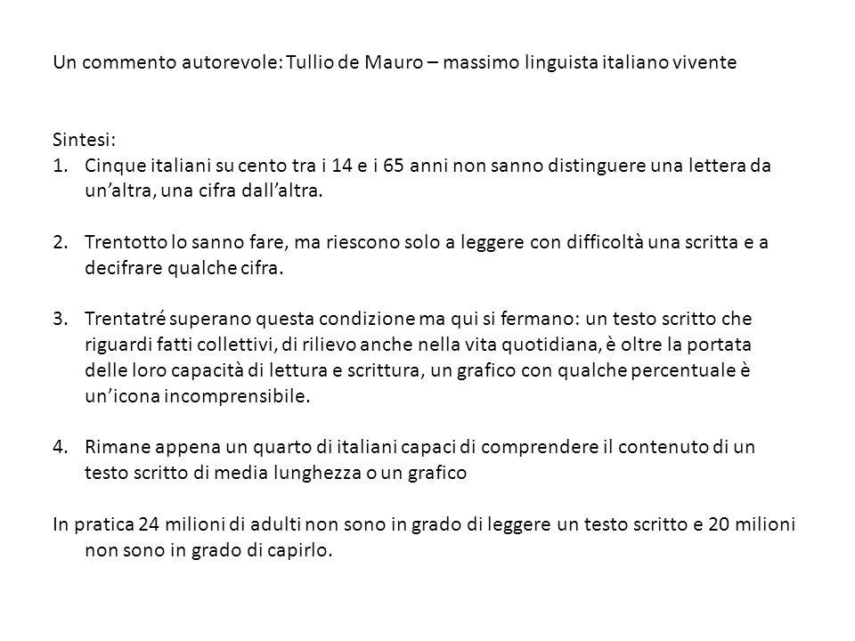 Un commento autorevole: Tullio de Mauro – massimo linguista italiano vivente Sintesi: 1.Cinque italiani su cento tra i 14 e i 65 anni non sanno distinguere una lettera da unaltra, una cifra dallaltra.