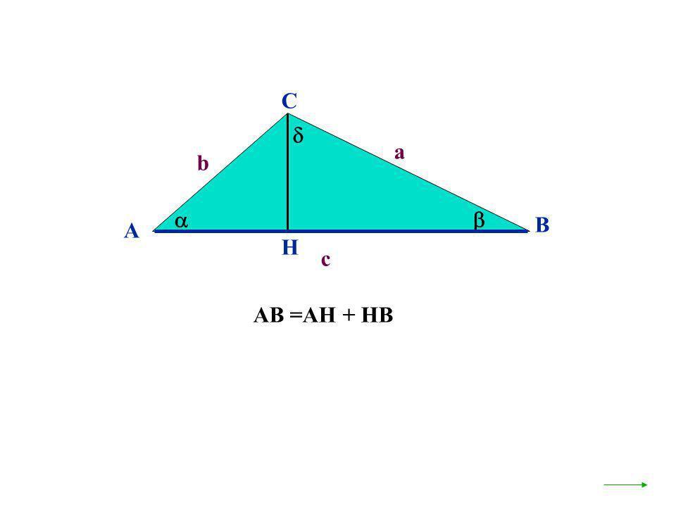 A B C b a c H AB =AH + HB