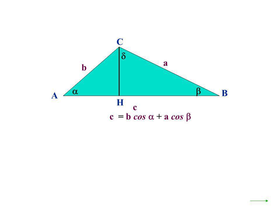 A B C b a c H c = b cos + a cos