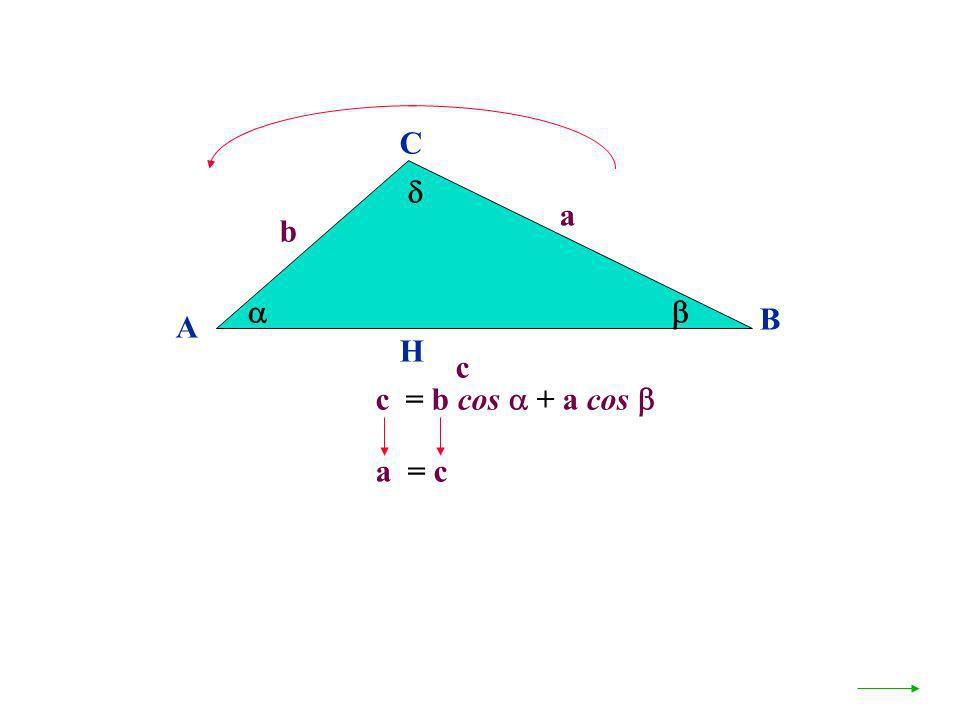 A B C a c H c = b cos + a cos b a = c