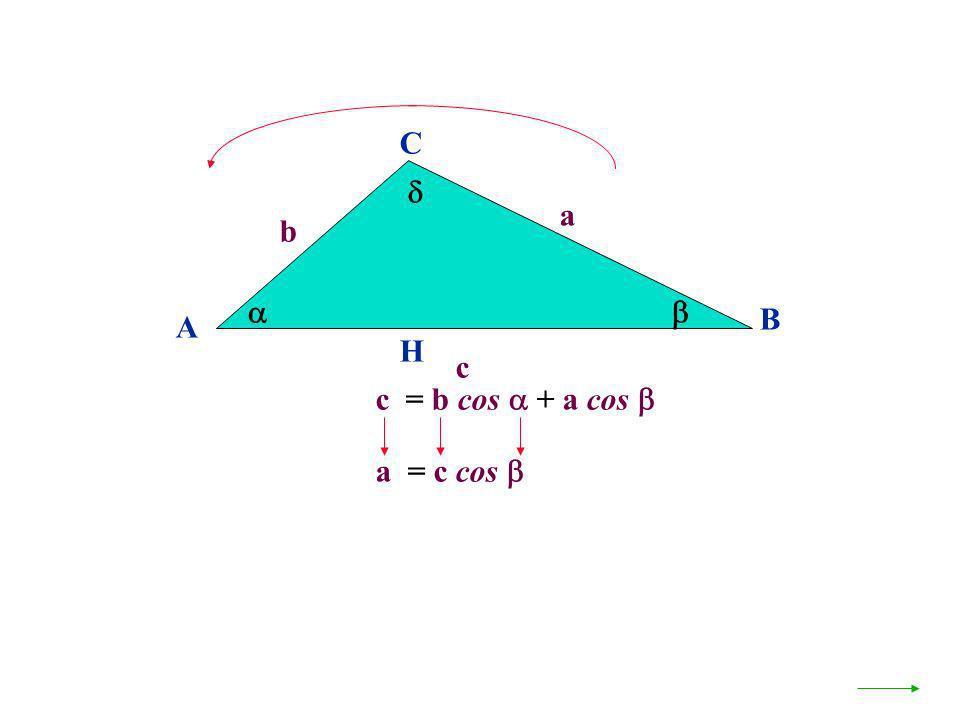 A B C a c H c = b cos + a cos b a = c cos
